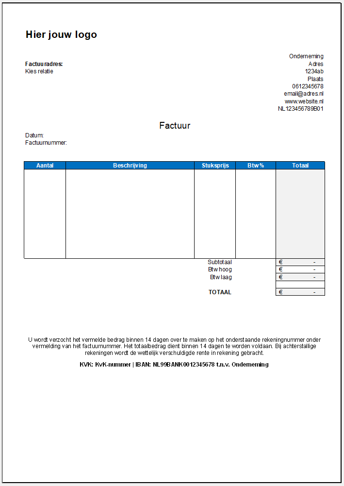 sjabloon factuur excel Factuur Excel (inclusief voorbeeld) | Hoe? En wat zijn de voordelen